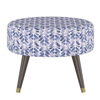 Oval Ottoman in Cableknit Blue Oga For Sale