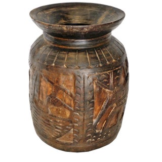 Primitive Wood Carved Tribal Vase