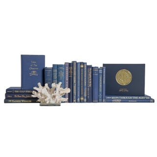 Nautical Navy and Gilt Book Set, (S/20) For Sale