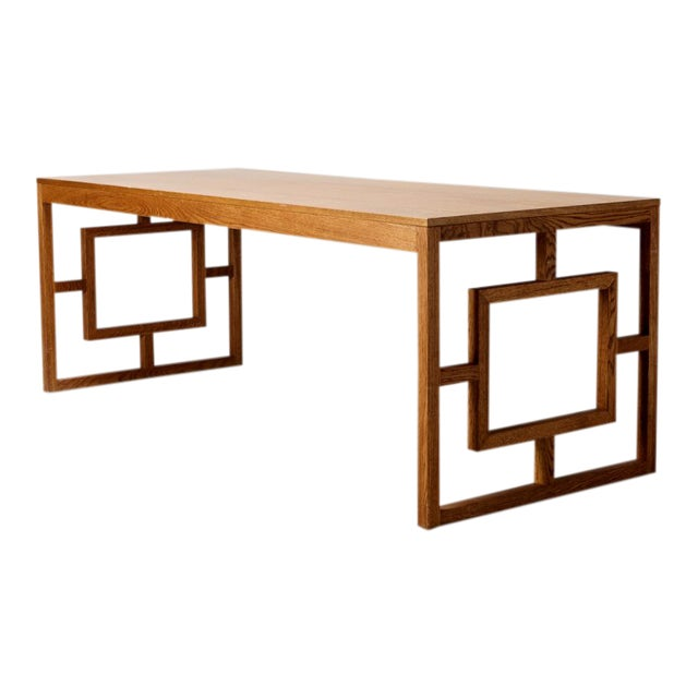 Long Oak Desk Table With Side Geometrical Design For Sale