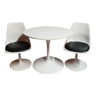 Mid Century Modern Krueger Tulip Table and 2 Swivel Chairs - 3 Piece Dining Set For Sale