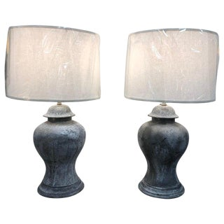 Antique English Metal Urn Lamps For Sale