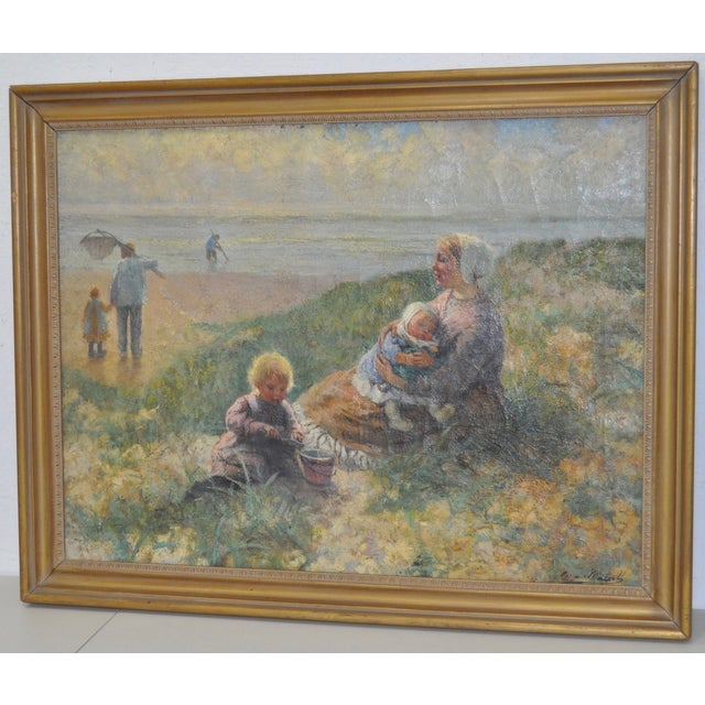Carl Mulertt (1869-1915) Impressionist Oil Painting Mother & Child C.1910 For Sale In San Francisco - Image 6 of 6