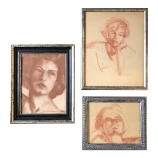 Gallery Wall Collection 3 Original 1950's Sepia Female Portrait Drawings For Sale
