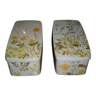 Vintage Denmark Canister Floral Tin Box - a Pair For Sale