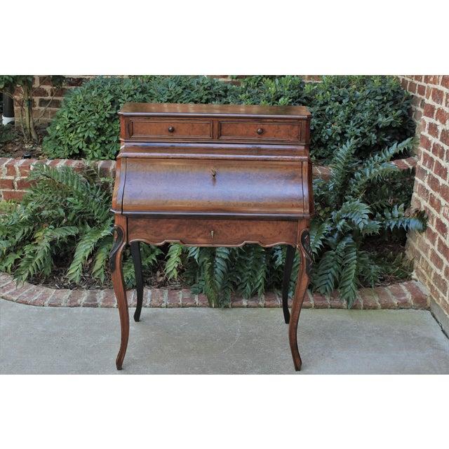 Antique French Birds Eye Maple Fall Front Secretary Desk Bureau For Sale - Image 13 of 13