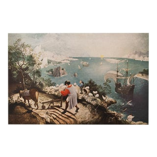 """1950s Pieter Bruegel """"The Fall of Icarus"""", First Edition Vintage Lithograph For Sale"""