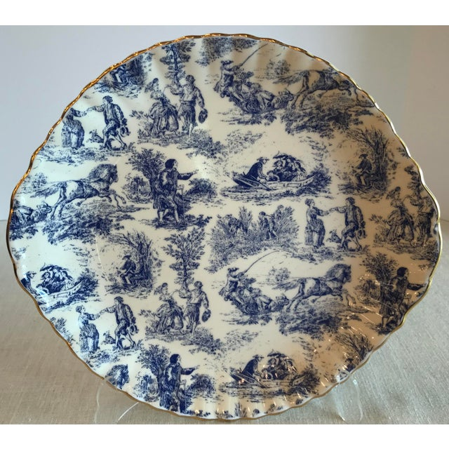 Blue & White Staffordshire Toile Platter For Sale - Image 9 of 9