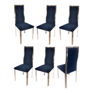 Romeo Rega Style Chrome & Ultrasuede Dining Chairs- Set of 6 For Sale