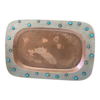Decorative Copper and Turqoise Tray For Sale
