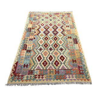 Contemporary Hand-Knotted Maimana Kilim Rug - 3′4″ × 7′11″ For Sale
