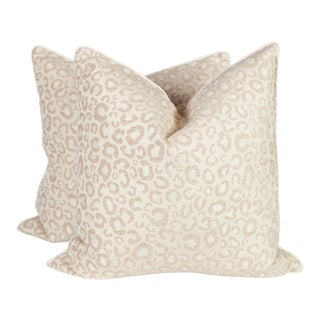 Cream and Ivory Leopard Pillows, a Pair For Sale