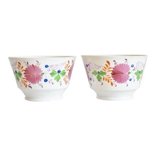 Antique C. 1810-1820 Pink Luster Staffordshire Creamware Tea Bowls - a Pair For Sale