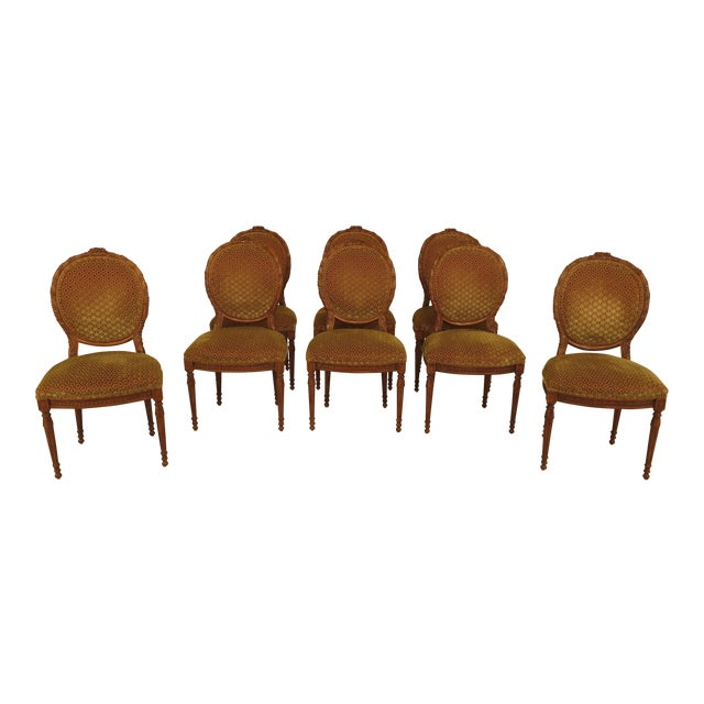 French Louis XV Carved Walnut Dining Room Chairs - Set of 8 For Sale