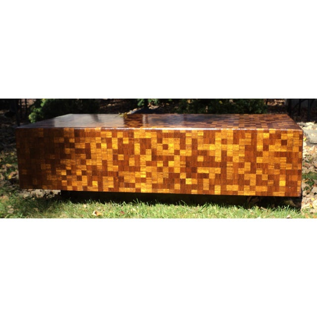 Mid-Century Modern Patchwork Wood Coffee Table - Image 5 of 11