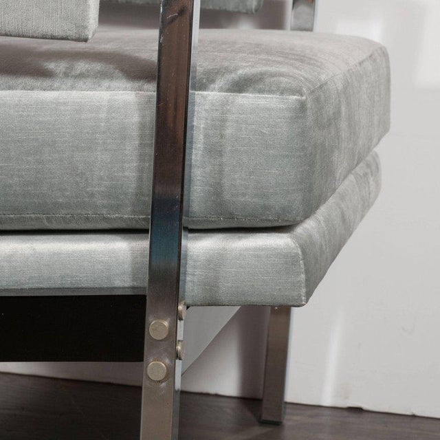 Mid-Century Modern Ebonized Walnut and Chrome Armchairs For Sale - Image 9 of 10