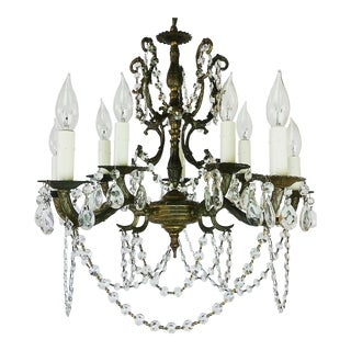 1910s Baroque 10-Light Cast Bronze Ornate Crystal Chandelier For Sale