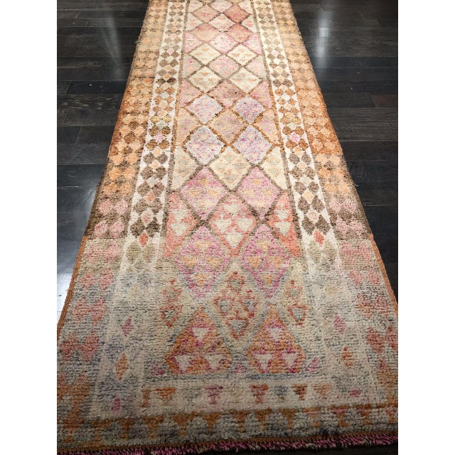 Gorgeous vintage Oushak long runner rug from Turkey with an elegance that is ready to line your hallway.