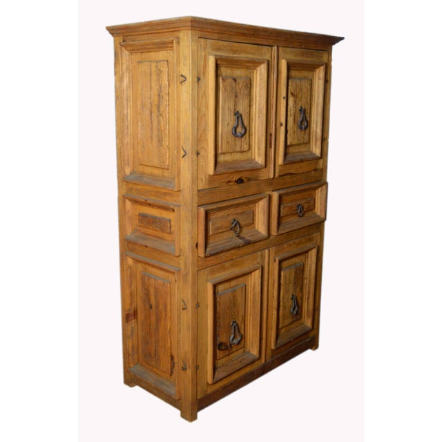 Vintage Natural Wood Indonesian Armoire For Sale In New York - Image 6 of 8