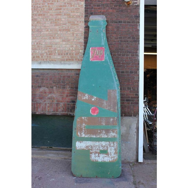1950's 12' height masonite hand painted7 UP bottle shaped sign.