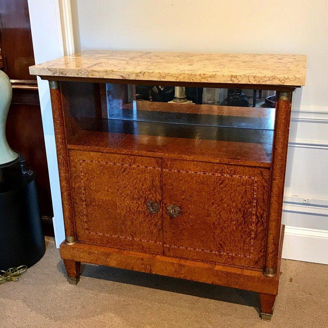 French Sienna Marble and Burlwood Bar or Sideboard For Sale - Image 4 of 13