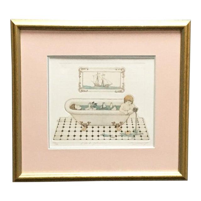 """""""L'ile De Robinson"""" Bath Time Etching Framed Bathroom Art For Sale"""