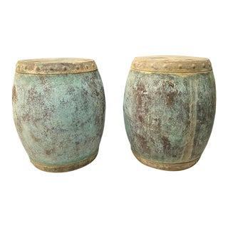 Antique Chinese Copper Rice Barrels/Garden Seats - a Pair For Sale