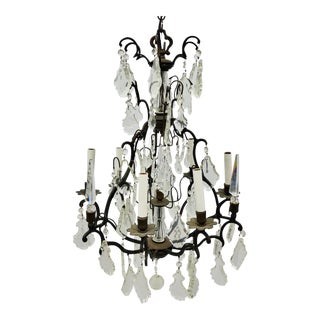 Late 20th Century French Style Wrought Iron & Crystal Chandelier For Sale