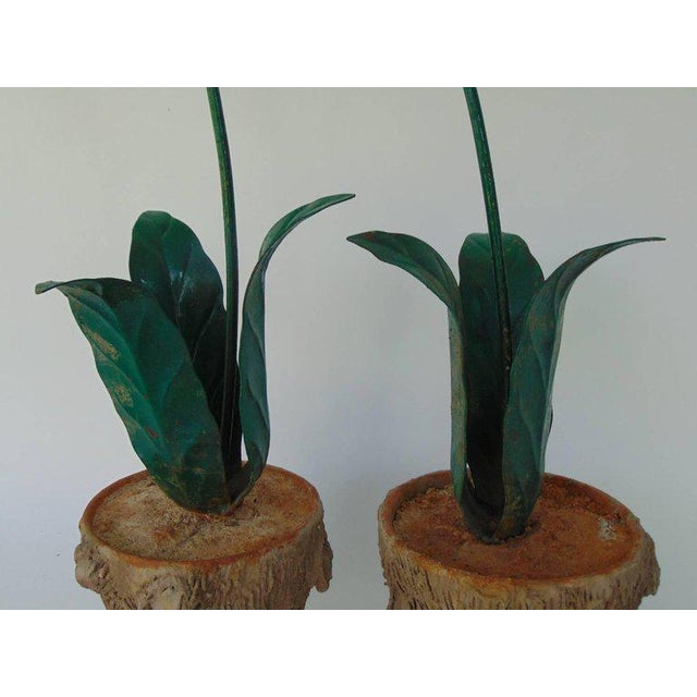 Tole Peinte Calla Lilies in Concrete Faux Bois Jardinieres - A Pair For Sale - Image 4 of 7