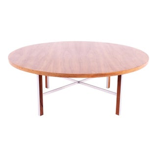 Paul McCobb for Calvin Linear Group Mid Century Round Walnut and Stainless Coffee Table For Sale
