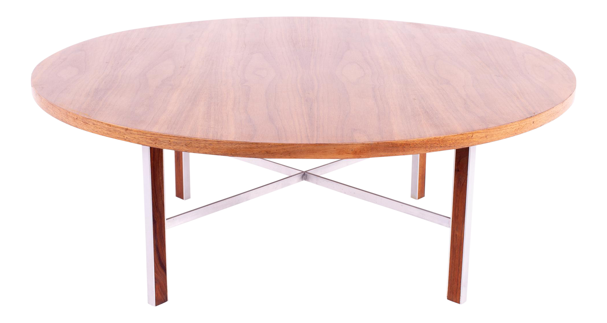 Paul Mccobb For Calvin Linear Group Mid Century Round Walnut And Stainless Coffee Table