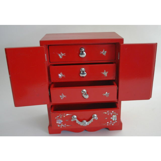 Chinese Red Lacquered Jewelry Chest - Image 3 of 5