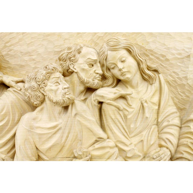 """Wood """"The Last Supper"""" Wood Carving Relief Masterpiece by Emrich Mussner, 1976 For Sale - Image 7 of 11"""