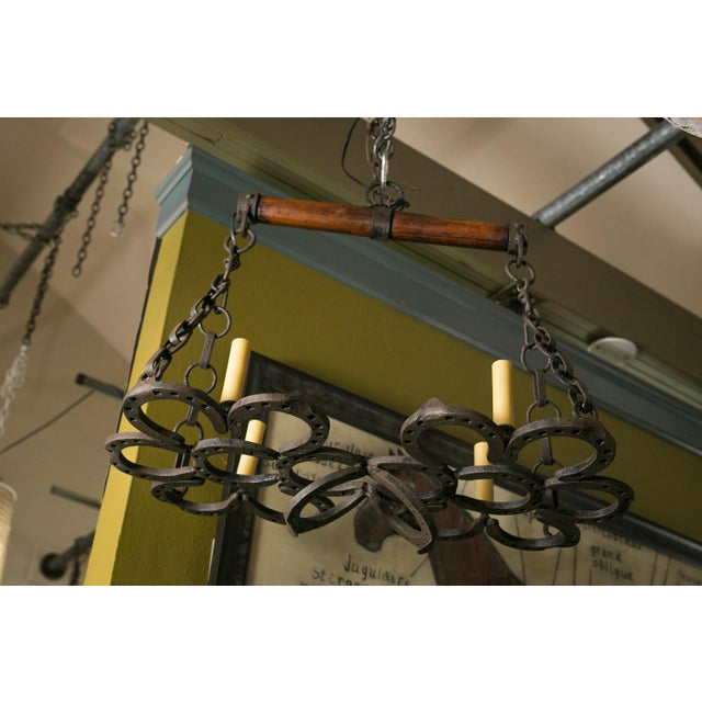 Wrought Iron Horseshoe Chandelier For Sale In Houston - Image 6 of 7