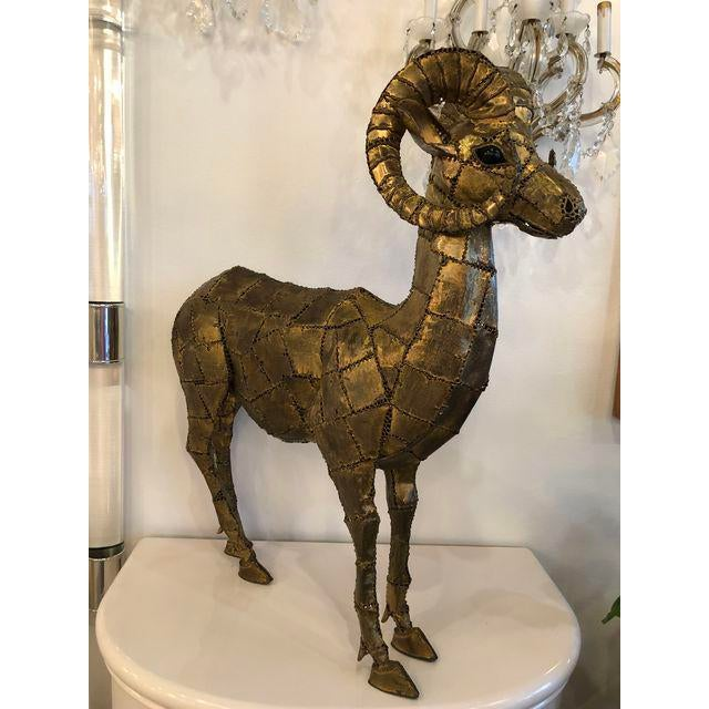 Original brass Patchwork rams Ibex Statue Signed Luciano Bustamante (picture)