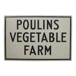 Vintage Poulins Vegetable Farm Stand Sign For Sale