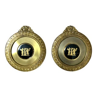 Neoclassical Lacquered Brass Medallion Plaques- a Pair For Sale