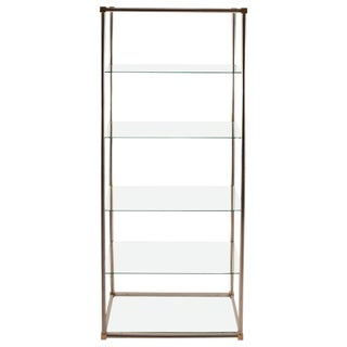 Aluminum / Brass and Glass Etagere, Vitrine by Vesey For Sale