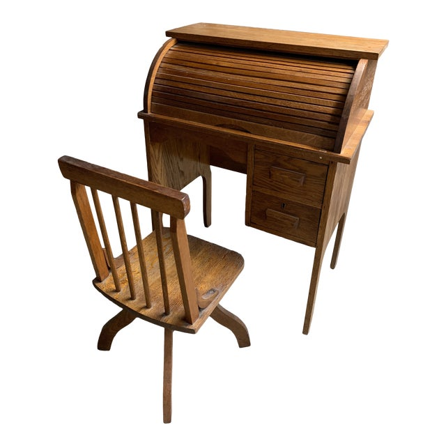 Tremendous Antique Traditional Roll Top Desk And Chair Set 2 Pieces Dailytribune Chair Design For Home Dailytribuneorg