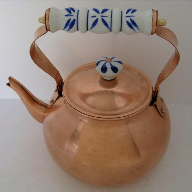 Traditional Copper & Porcelain Teapot For Sale - Image 3 of 7