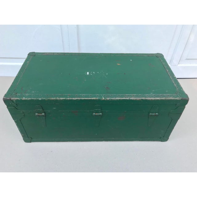 Vintage Metal Green Trunk - Image 5 of 6