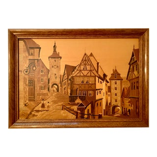 Arts and Crafts Solid Wood Marquetry Wall Art by Buchschmid & Gretaux For Sale