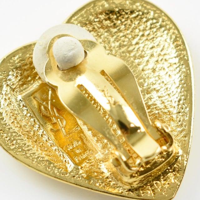 1980s Yves Saint Laurent Paris Signed Clip on Earrings Gilt Metal Heart For Sale - Image 5 of 7