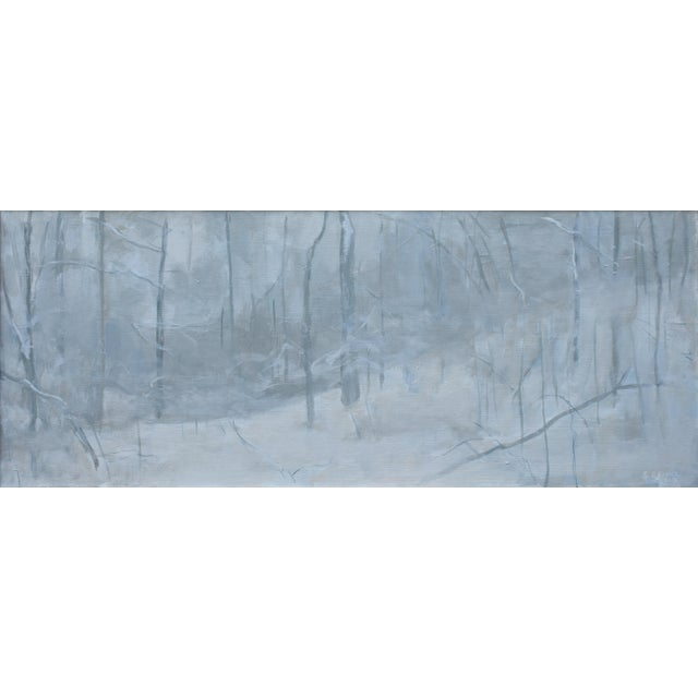 """Titled """"Finding the Way Back Home in a Storm"""". Could be allegorical. This acrylic on canvas measures 16"""" by 40"""", has a..."""