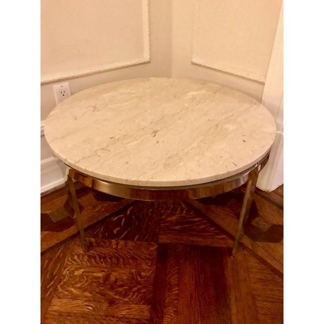 Mid-Century Milo Baughman Style Marble & Chrome Coffee Table - Image 3 of 7