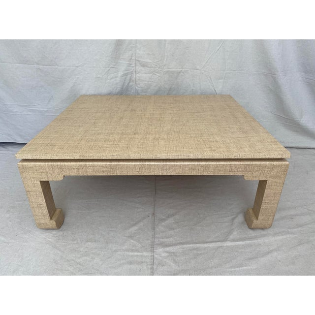 Sand Grasscloth Wrapped Ming Style Coffee Table For Sale - Image 8 of 11