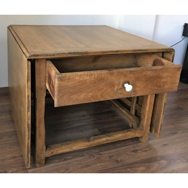 Spanish, 18th Century Drop-Leaf Table with Four Gate-Leg and Three Drawers For Sale - Image 5 of 9