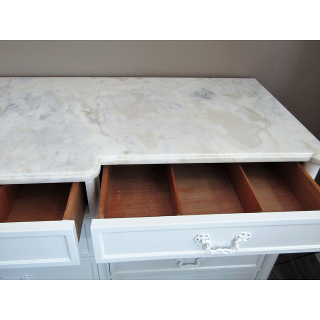 1970s Mid-Century Modern 12- Drawer Marble Top Chest For Sale - Image 4 of 8