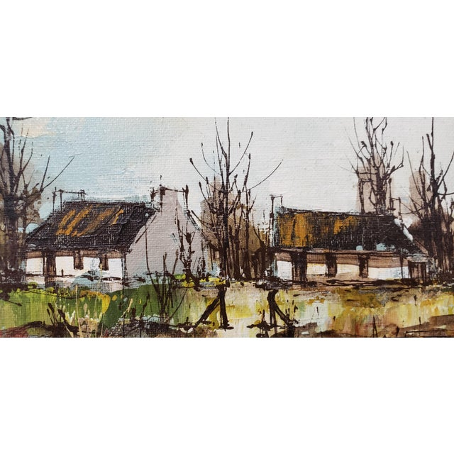 Canvas Maurice Verdier (France, 1919-2003) Vintage Normandy Village Landscape C.1970s For Sale - Image 7 of 10