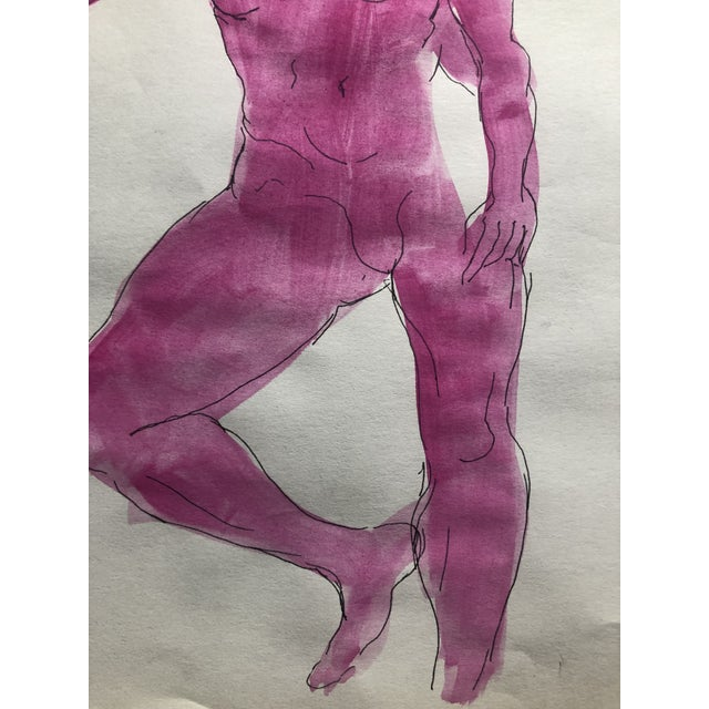 Mid-Century Female Nude Watercolor, 1950s For Sale - Image 4 of 5